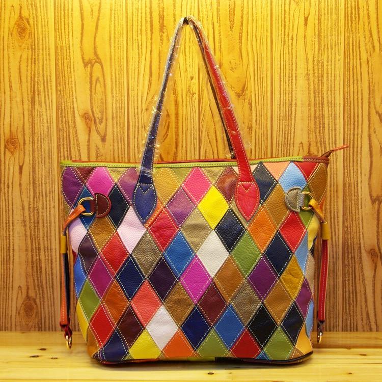 330 Real Leather Totes Tide Women\'S Shoulder Bag Crossbody Plaid Color Matching Cowhide Single Shoulder Slung Women\'S Bags