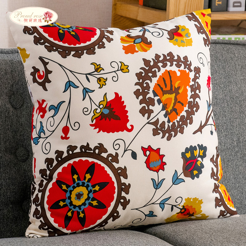 Proud Rose National Style Cotton Pillowcase Linen Sunflower Back Cushion 45*45cm Throw Pillows Car Back Cushion ...