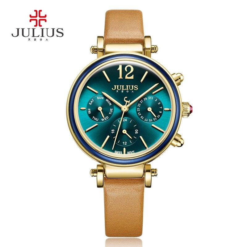 ФОТО Real Functions Women's Watch Swiss Quartz Fashion Fine Hours Dress Sport Genuine Leather Girl Birthday Gift Julius Box