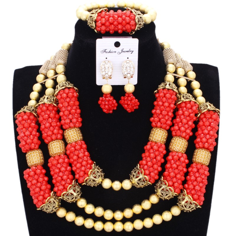 Ensemble de bijoux Dubai Collier Boucles D'oreilles Bracelet Ensemble Orange Or Africain Bijoux Indien Ensemble de Bijoux Boules de Cristal de Soirée De Mariage