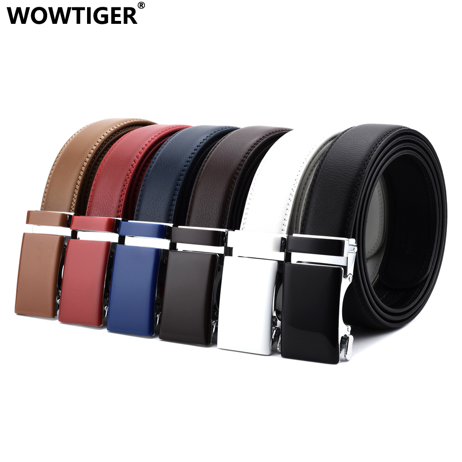 WOWTIGER black white red blue Khaki Cowhide Genuine Leather 3.5cm width Belts For Men Male Luxury Automatic buckle men belt