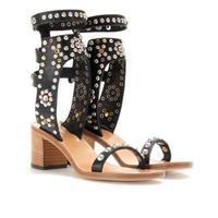 Zapatos mujer dép phẳng mở ngón chân 10.5 cm/6 cm cao gót dày phụ nữ đen trắng xanh cao gót giày đinh tán dép nút chai