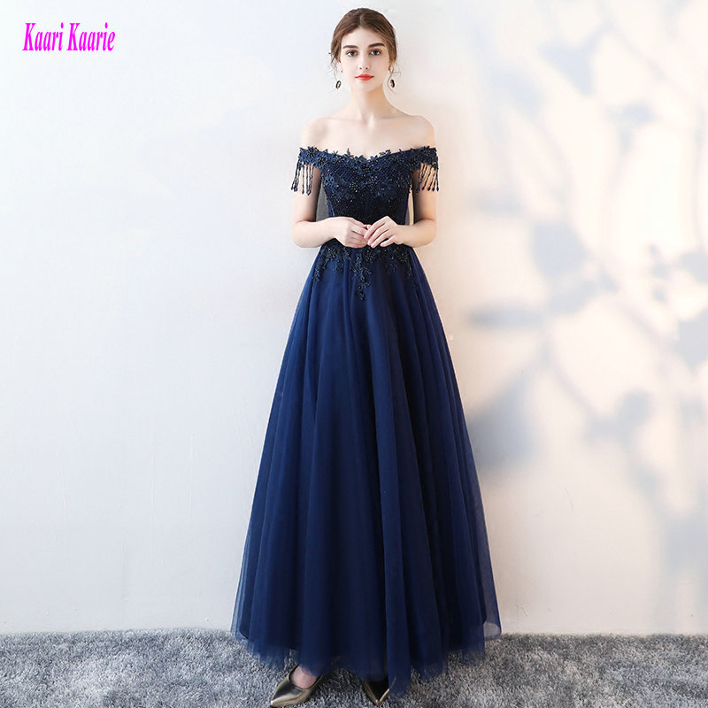 Fashion Dark Navy Evening Dresses Long 2019 Sexy Plus Size Casual Evening Gowns Sweetheart Tulle Appliques Beading Formal Dress