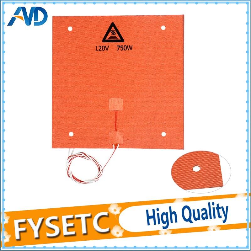 1 PC Silicone Chauffe Pad 310x310mm 120 V 750 W Pour Creality CR-10 3D Imprimante Lit Avec Trous de vis, 3 M Support Adhésif et Capteur