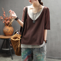Women Summer Fashion Brand Japan Style Fake Two Pieces Half Sleeve Linen Hemp Knitted T shirt Female Casual Loose Tee Tshirts
