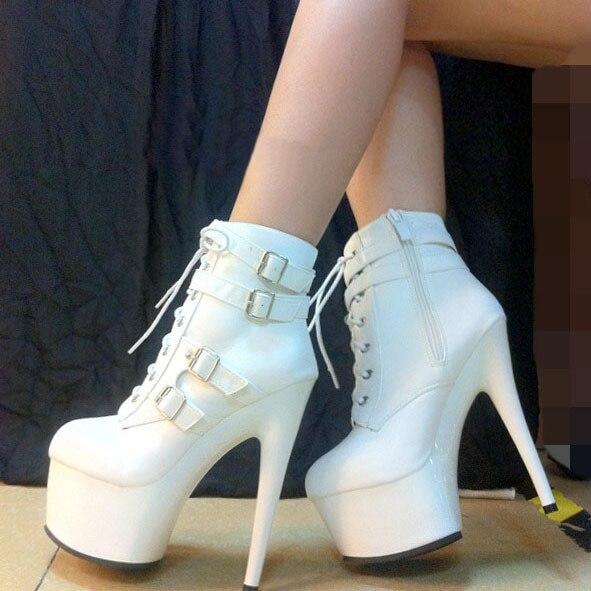 c6f0faf8e06e5 Femmes moto bottes mode bottes courtes boucle cheville bottes 20 cm haute  talons Plate-Forme chaussures classique à lacets bottes d hiver noir