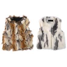 Осень-зима-весна, детские меховые жилеты зеленый меховой жилет для девочек короткий искусственный мех в европейском и американском стиле