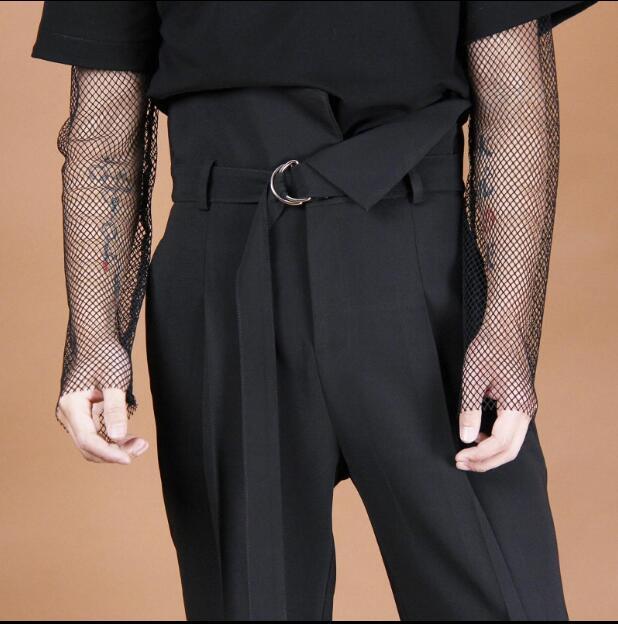 Diseño falda Tamaño Más Asimetría Tubo Vendaje Moda Hombres Nuevos Deconstrucción Recto Negro 2019 La Original Barbecho El En De Medio Pantalones wn06vASwqx