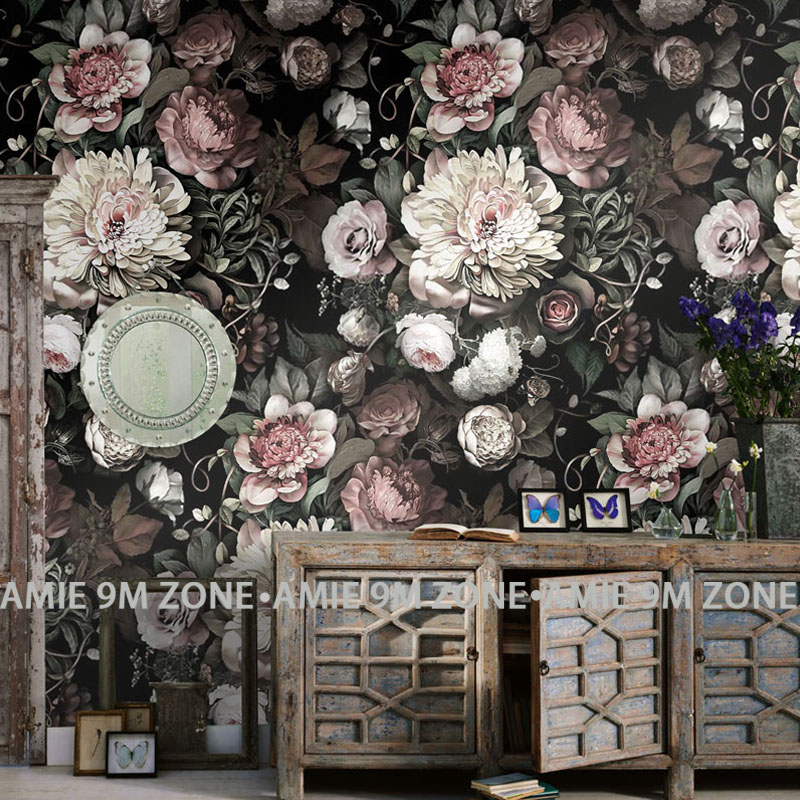 Wallpapers custom classic vintage flowers design wall for Classic mural wallpaper