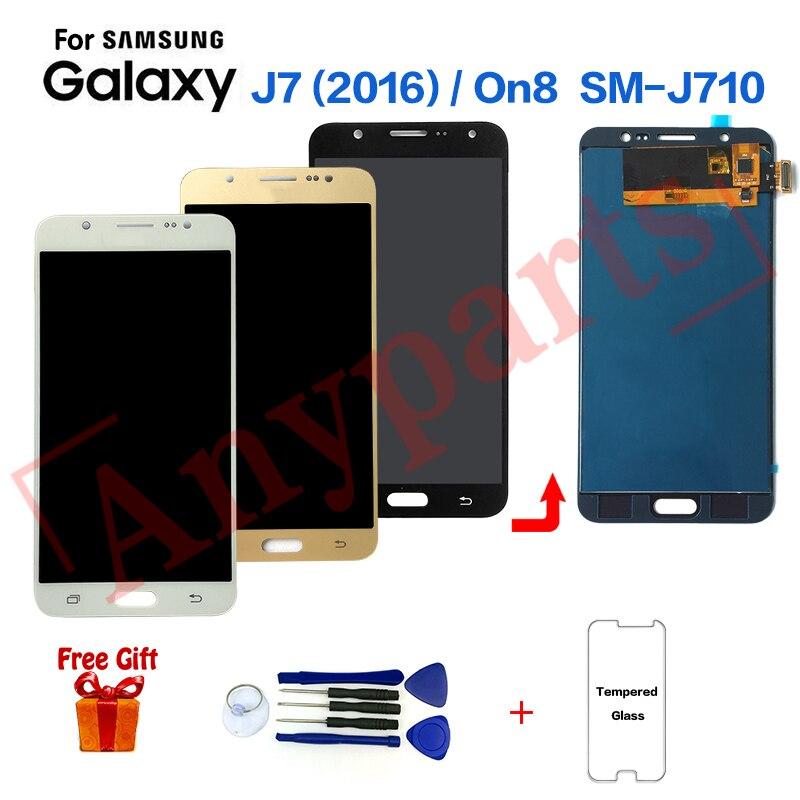 Para Samsung Galaxy J7 2016 Display lcd substituição Da Tela para Samsung On8 SM-J710F SM-J710FZ J710K J710MN Visor do módulo de Tela