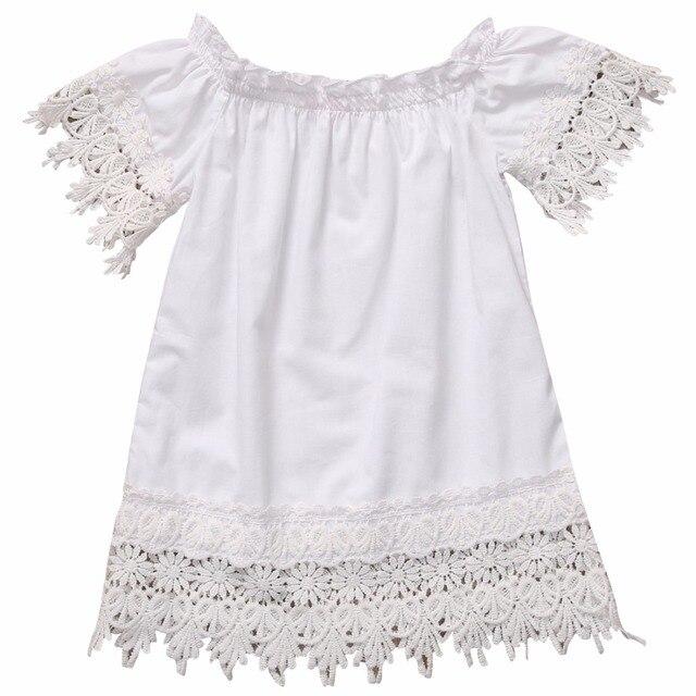 c12a7e41434 2117 casual coton blanc mignon solide Enfant Enfants Bébé Filles Vêtements  Top En Dentelle Robe Partie