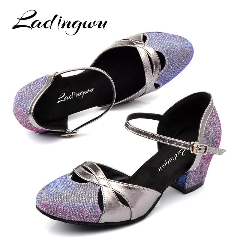 Ladingwu zapatos de baile latino mujer 4.5cm Low heel Salsa Dance shoes Purple Silver Black Glitter and PU Ballroom Dance ShoesLadingwu zapatos de baile latino mujer 4.5cm Low heel Salsa Dance shoes Purple Silver Black Glitter and PU Ballroom Dance Shoes