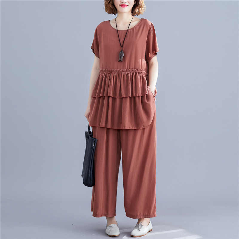 Johnature New Casual Korean Loose Solid Color Women Two Pieces Sets 2019 Summer Ruffles Top Elastic Waist Ankle-length Pant Sets