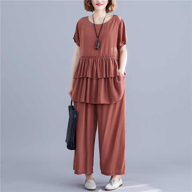 Johnature nowe na co dzień koreański luźne jednolity kolor kobiet dwa kawałki ustawia 2019 lato Ruffles Top elastyczny pas do kostek spodnie zestawy