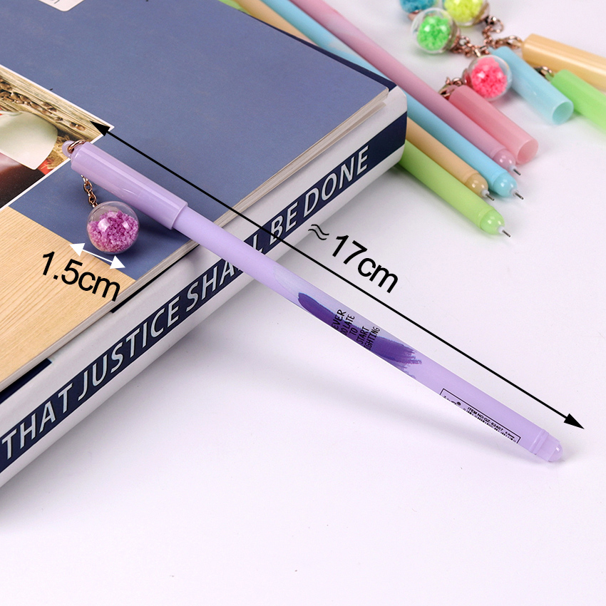 0 5mm Cute Plastic Black Ink Gel Pen Luminous Glass Ball Pendant Pens for Writing School Office Supplies Stationery in Gel Pens from Office School Supplies