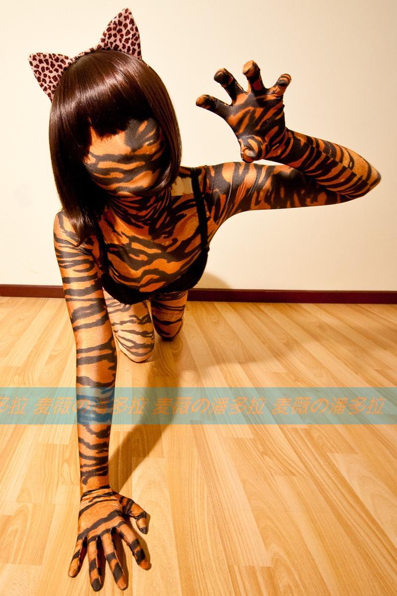 (MW814)Luxury Customize full body lycra spandex tiger pattern zentai suit full body tights Fetish Zentai Wear Quality Tights