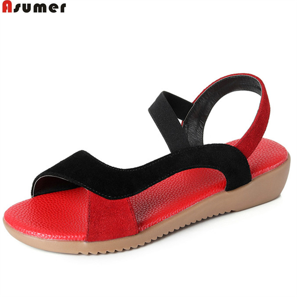 ASUMER black red fashion summer new arrival ladies shoes casual low heels wedges shoes mixed colors women cow suede sandals kuidfar wedges sandals gladiator sandals fashion women summer shoes low heels women casual sandals ladies shoes women