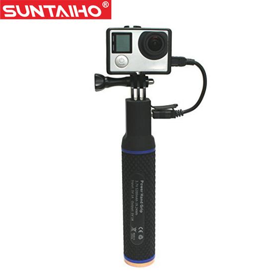 Prix pour Gopro 5200 mAh Puissance Main Grip Manfrotto Batterie Selfie Bâton pour Gopro hero 3/3 +/4/SJ4000/SJ5000 XIAOMIYI SportCamera Accessoires