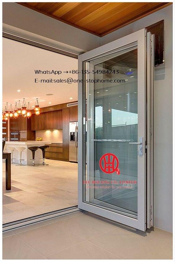 Low-E Glass Heavy Duty Corner Aluminum Bi-fold Door/folding Door,high Quality Sound Insulation Aluminum Insulation Glass Door