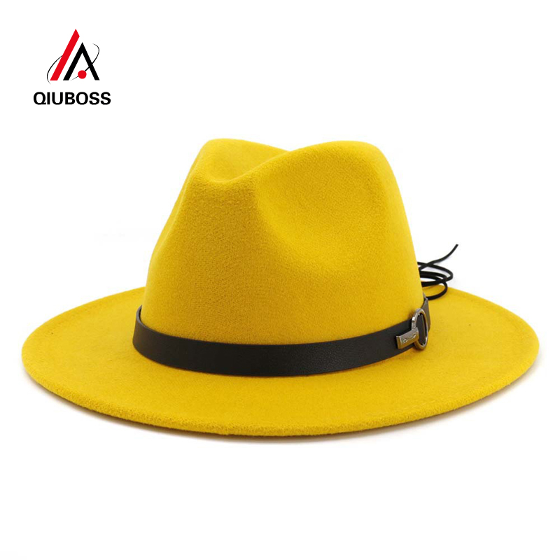 QIUBOSS Women Men Wide Brim Wool Felt Jazz Fedora Hats Panama Style Cowboy Trilby Party Formal Dress Hat Large Size Yellow White