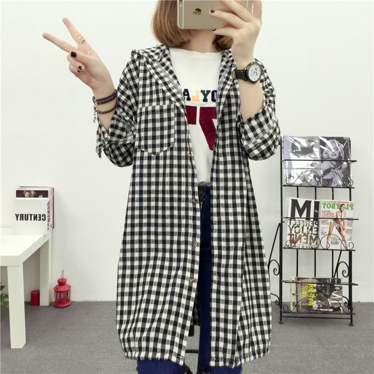 Brand Yan Qing Huan 2018 Spring Long Paragraph Large Size Plaid Shirt Fashion New Women's Casual Loose Long-sleeved Blouse Shirt 19