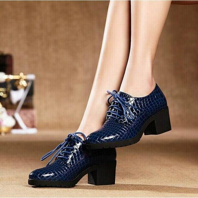 Fashion Patent Leather High Heels Oxford Shoes For Women Genuine Leather Thick Heel Women Pumps Woman Casual Shoes