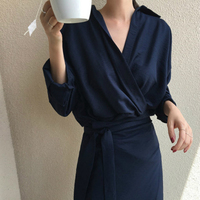 Women Fall Elegant V Neck Solid Bandage Bodycon Long Shirt Dress Female Solid Plus Size Vestido Long Sleeve Robe Femme clothes