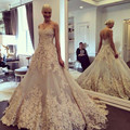 Robe De Mariee Sirene Sexy Champagne A Line Sweetheart Sleveless Appliques Beaded Court Train Tulle Bridal Gowns