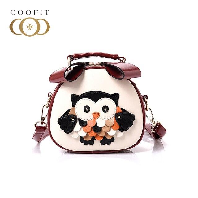 coofit Creative Shoulder Bag Lovely Cartoon Owl PU Leather Women Messenger Bag Crossbody Bag For Shopping Party Bolsa Feminina