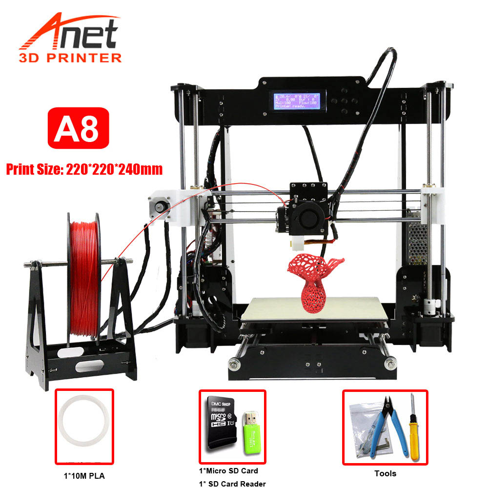 Factory Selling Anet A8 3D Printer Print Size 220*220*240mm Offline Printing DIY Kit Cura Software TF card/USB/Online Connectors image