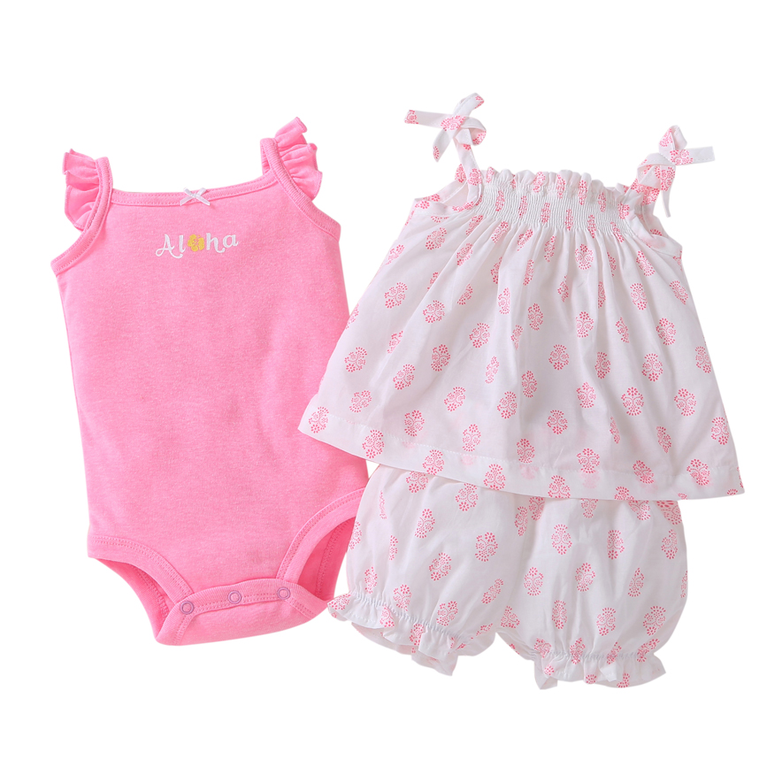 Hot sale Baby clothes cotton pink floral Baby Clothing Set baby rompers Girls summer pattern Sets 3 pieces/set=1 set + 1 romper