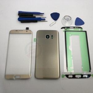 Image 2 - Schermo anteriore Obiettivo di Vetro per Samsung Galaxy S7 Bordo G935 G935F SM G935F G935FD Posteriore Della Copertura di Batteria del Portello Posteriore Dellalloggiamento con adesivo
