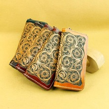womens long card case zip wallet classical Carving handbag dinner bag