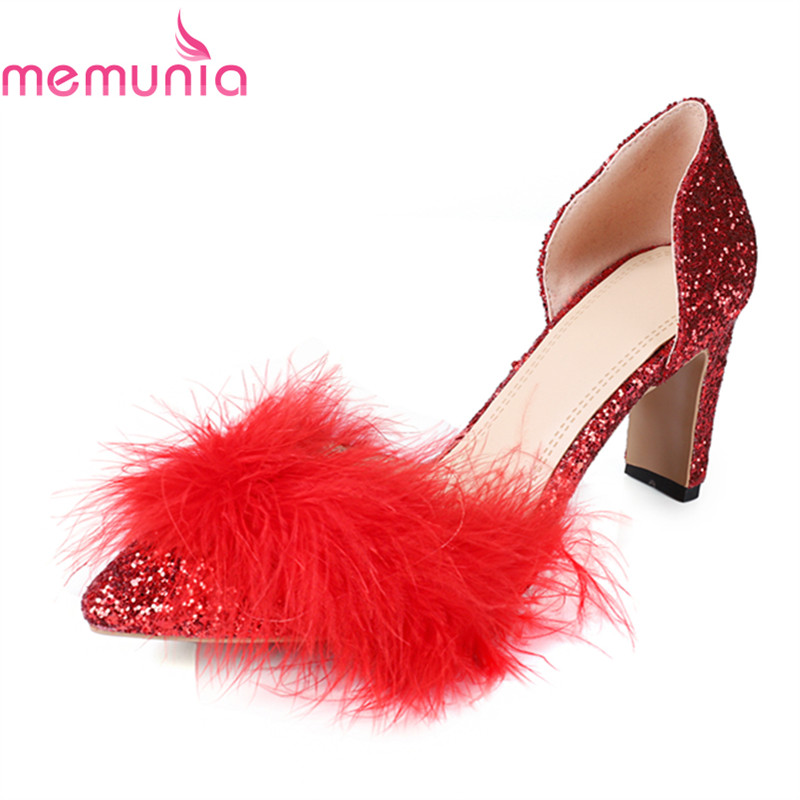 MEMUNIA  pumps women shoes thin heels spring summer autumn unique pointed toe sexy glitter new arrive wedding shoes moonmeek new arrive spring summer female pumps high heels pointed toe thin heel shallow party wedding flock pumps women shoes