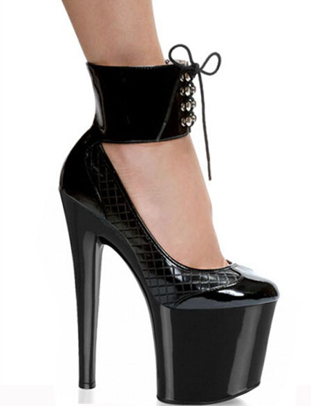 ФОТО fashion single shoes platform 8 inch high-heeled black shoes for women ankle strap pumps 20cm Stripe Crystal shoes