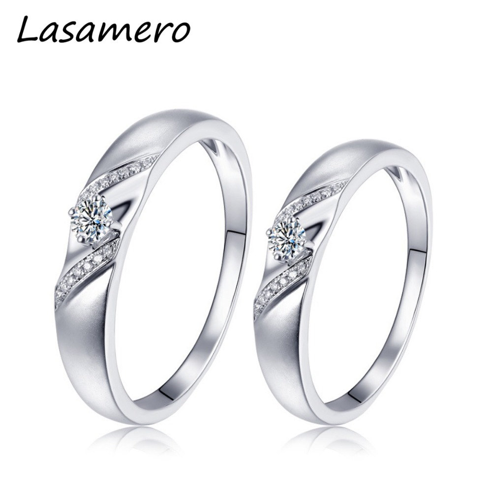 LASAMERO 0. 057 CT Round Cut Natural Diamond Ring Couple Rings 18k White Gold Certified Pave Set Engagement Wedding RingLASAMERO 0. 057 CT Round Cut Natural Diamond Ring Couple Rings 18k White Gold Certified Pave Set Engagement Wedding Ring