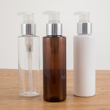 6ps 250ml Plastic Lotion Bottles with Silver Clear treatment pump for shampoo lotion refillable bottles home reuse