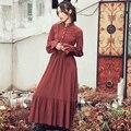 [AIGYPTOS-Aporia.As] Outono Das Mulheres Nacionais Tendência Gola de Babados Manga Borboleta Algodão Linho Inferior Expansão Vestido Maxi Fino