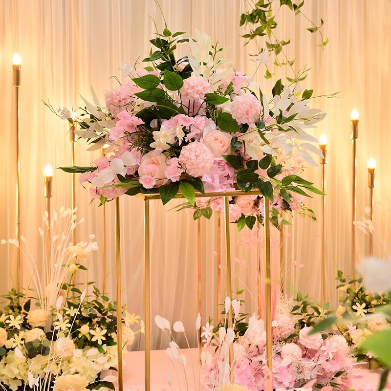 Personnaliser 40 cm artificielle rose table de mariage décor fleur boule centres de table toile de fond décor fête table floral route plomb fleur