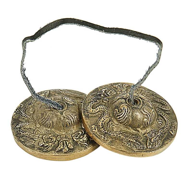 Tibet Meditasi Yoga Simbal Bell-Naga Timbul
