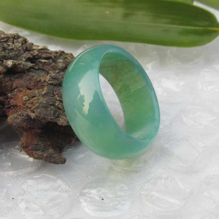 18มิลลิเมตรอาเกตสีเขียวธรรมชาติแหวนนิ้วต้องชายและหญิงรุ่นวิจิตรหยกแหวนหยกแท้เข็มแถบ