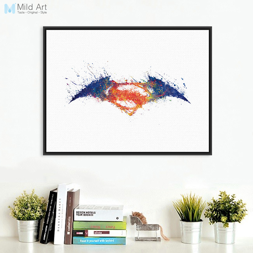 Original Aquarell Batman vs Superman Logo Movie Kunstdruck Poster ...