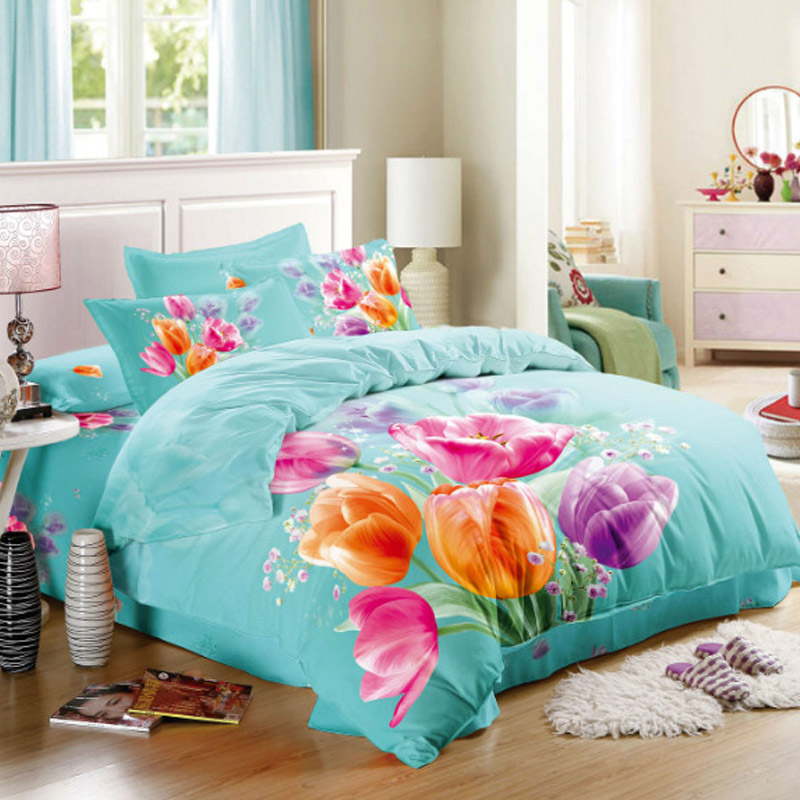 Flowers Orange And Pink Tulip Turquoise Bedding Sets Queen Size Quilt Cover Pillowcase Bed Sheets Cotton In A Bag 4pcs From Home