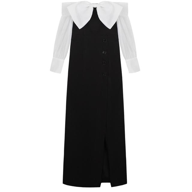 YIGELILA 2017 Latest New Women Summer Dress Fashion Sexy Slash Neck Off Shoulder Bow Split Black Long Party Dress 6980