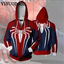 Spider-Man Homecoming Peter Parker Cosplay FullZip Pullover Long Sleeve 3D Hoodies Spiderman Sweatshirts Women Harajuku pullover paul parker pullover