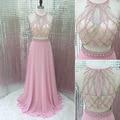 2017 Nova Two-Pieces Sexy Rosa Chiffon Até O Chão Vestidos de Noite Robe de soirée Cystal Lantejoulas Beading Formal vestido de Festa vestido LX284