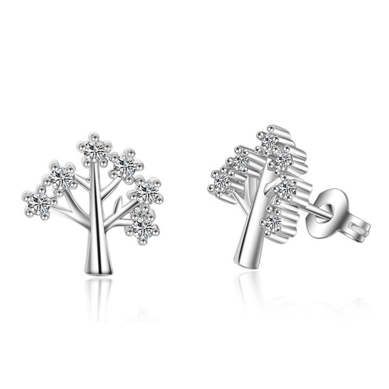 Crystal From Swarovski Jewelry Femme Stud Earrings Anti Allergy Wishing Tree Shape Lovely Brincos for Women Christmas Gift ED111