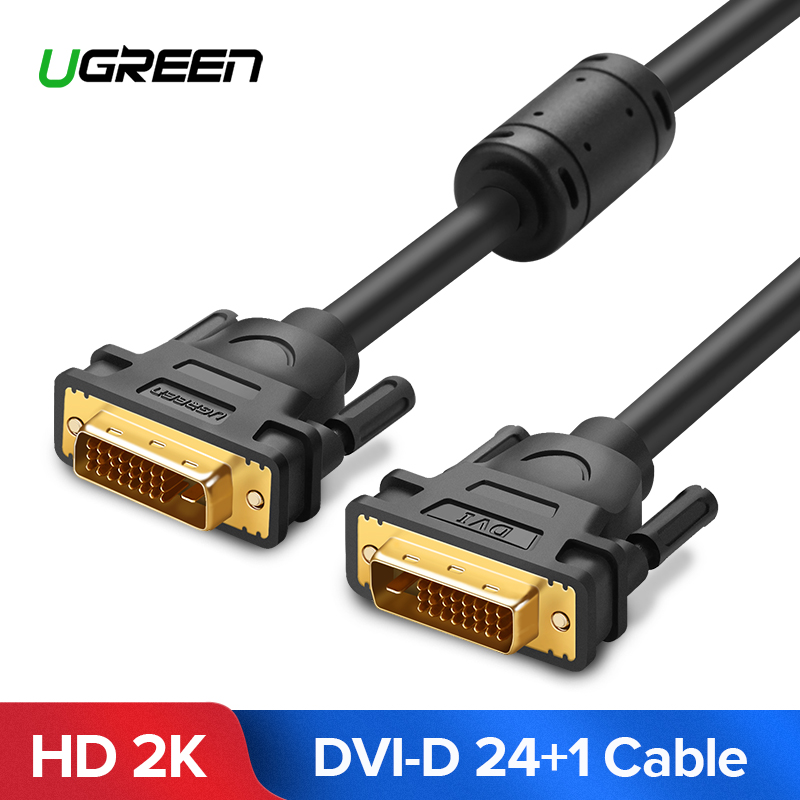 Ugreen DVI Cable DVI macho a DVI DVI-D 24 + 1 macho chapado en oro macho a m macho 1 m 2 m 3 M 5 M para TV proyector Monitor Dual Link Cable