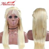 Али удивительные волосы русый 613 # бразильского человеческих волос Full Lace парики плотность 180% прямые волосы парик шнурка с для Волос