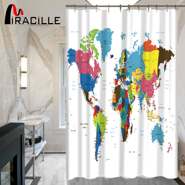 Miracille world map pattern waterproof fabric creative shower miracille world map pattern waterproof fabric creative shower curtain with 12 hooks bathroom bathing blocking curtains gumiabroncs Images
